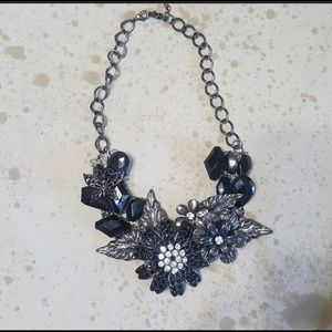 Black & Silver Chunky Flower Necklace